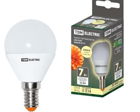 Лампа светодиодная FG45-7 Вт-230 В-4000 К–E14 TDM SQ0340-0176