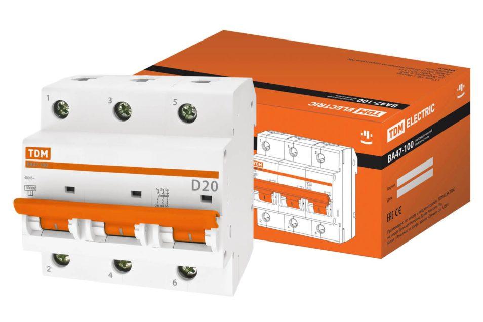 Авт. выкл. ВА47-100 3Р 20А 10кА х-ка D TDM SQ0207-0025