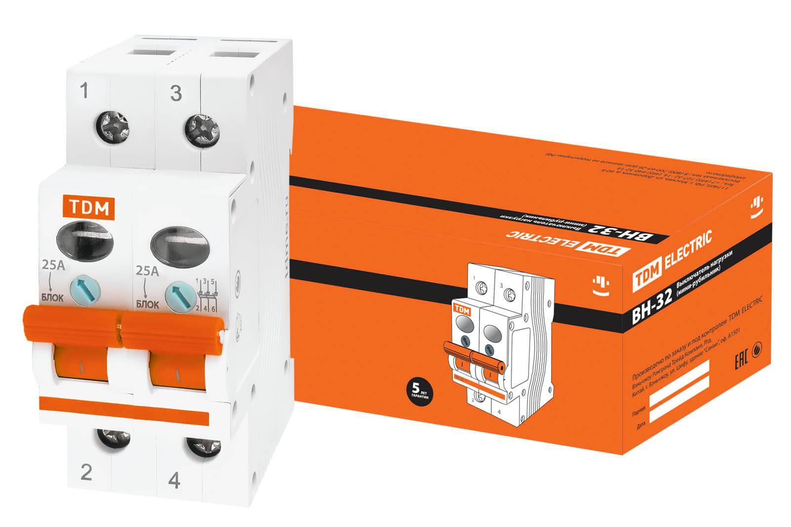 Выключатель нагрузки (мини-рубильник) ВН-32 2P 25A TDM SQ0211-0013