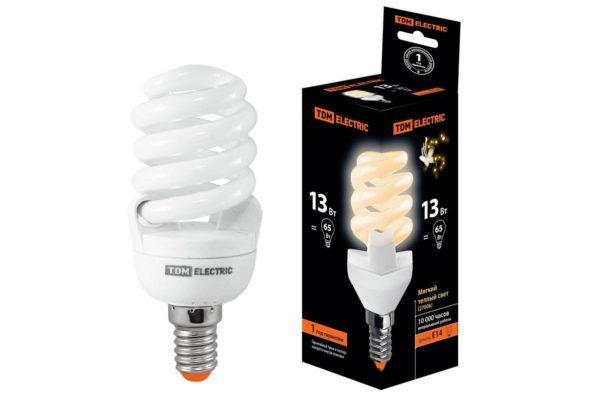 Лампа энергосберегающая КЛЛ-FSТ2-13 Вт-2700 К–Е14 (42х98 мм) TDM SQ0323-0054