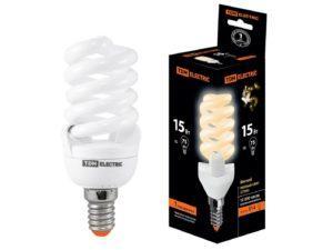 Лампа энергосберегающая КЛЛ-FSТ2-15 Вт-2700 К–Е14 (42х103 мм) TDM SQ0323-0055