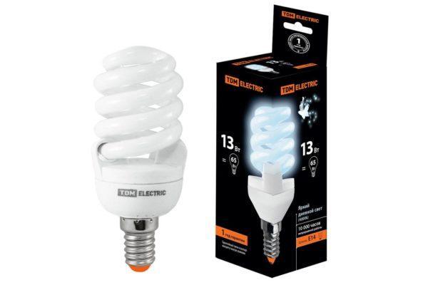 Лампа энергосберегающая КЛЛ-FSТ2-13 Вт-4000 К–Е14 (42х98 мм) TDM SQ0323-0058