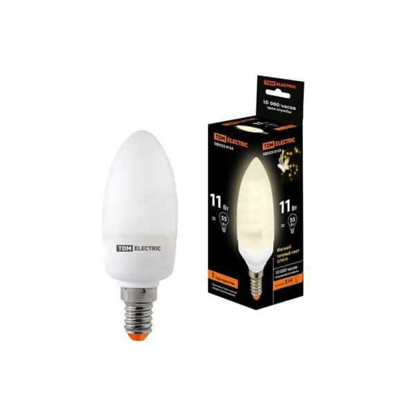 Лампа энергосберегающая КЛЛ-С-11 Вт-2700 К–Е14 TDM (mini) SQ0323-0134