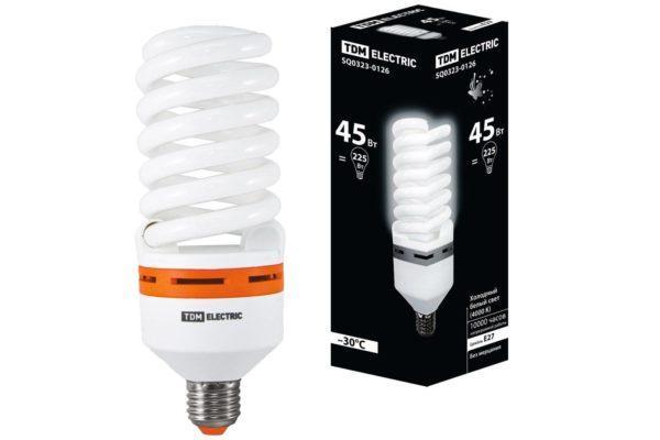 Лампа энергосберегающая КЛЛ-FS-45 Вт-4000 К–Е27 (73х196 мм) TDM SQ0323-0126