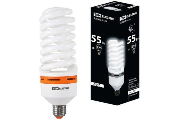 Лампа энергосберегающая КЛЛ-FS-55 Вт-4000 К–Е27 (73х218 мм) TDM SQ0323-0128