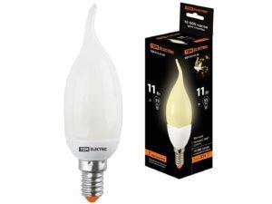 Лампа энергосберегающая КЛЛ-СW-11 Вт-2700 К–Е14 TDM (свеча на ветру) (mini) SQ0323-0136