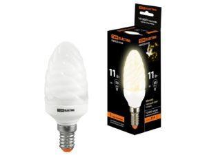 Лампа энергосберегающая КЛЛ-СT-11 Вт-2700 К–Е14 TDM (витая свеча) (mini) SQ0323-0138