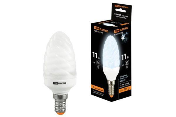 Лампа энергосберегающая КЛЛ-СT-11 Вт-4000 К–Е14 TDM (витая свеча) (mini) SQ0323-0139