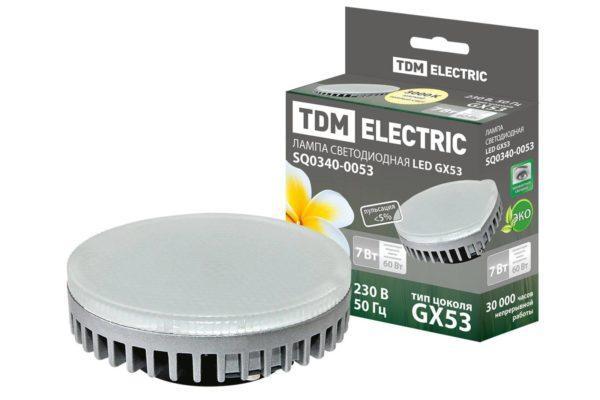 Лампа светодиодная GX53-7 Вт-3000 К TDM SQ0340-0053