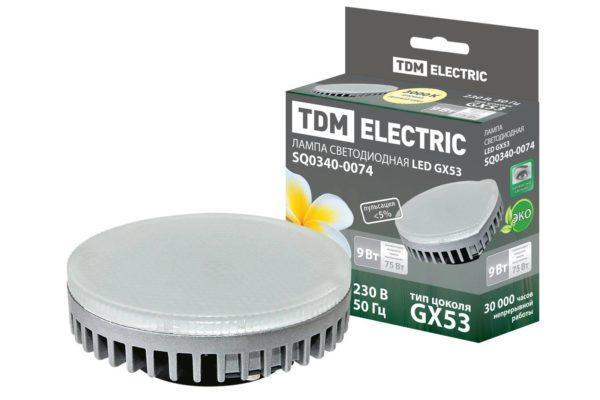 Лампа светодиодная GX53-9 Вт-3000 К TDM SQ0340-0074