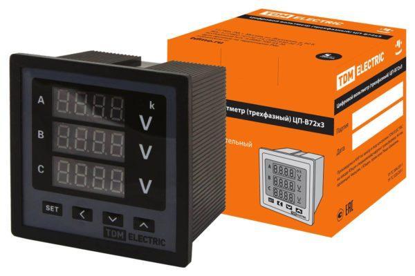 Цифровой вольтметр ЦП-В72х3 0-999кВ-0,5 (трехфазный) TDM SQ1102-0506