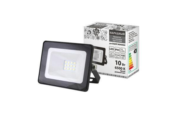 Прожектор светодиодный СДО-04-010Н 10 Вт, 6500 К, IP65, черный, Народный SQ0336-0260