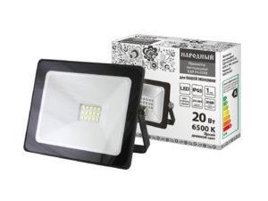 Прожектор светодиодный СДО-04-020Н 20 Вт, 6500 К, IP65, черный, Народный SQ0336-0261