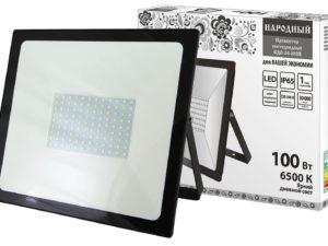 Прожектор светодиодный СДО-04-100Н 100 Вт, 6500 К, IP65, черный, Народный SQ0336-0265