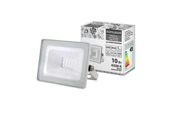 Прожектор светодиодный СДО-04-010Н 10 Вт, 6500 К, IP65, белый, Народный SQ0336-0270