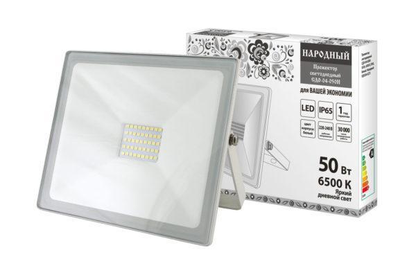 Прожектор светодиодный СДО-04-050Н 50 Вт, 6500 К, IP65, белый, Народный SQ0336-0273