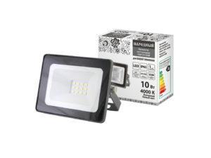 Прожектор светодиодный СДО-04-010Н 10 Вт, 4000 К, IP65, серый, Народный SQ0336-0280