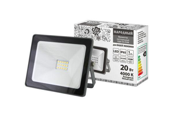 Прожектор светодиодный СДО-04-020Н 20 Вт, 4000 К, IP65, серый, Народный SQ0336-0281