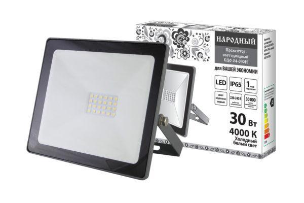 Прожектор светодиодный СДО-04-030Н 30 Вт, 4000 К, IP65, серый, Народный SQ0336-0282