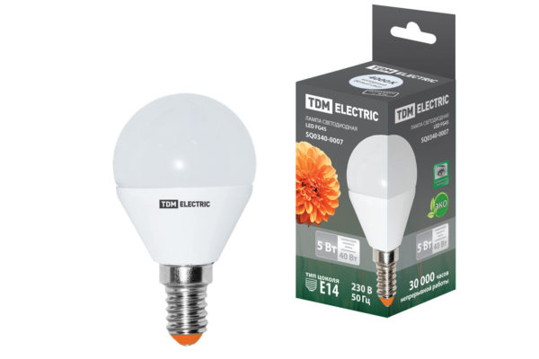 Лампа светодиодная FG45-5 Вт-220 В-4000 К–E14 TDM SQ0340-0007