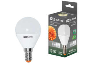 Лампа светодиодная FG45-5 Вт-220 В-3000 К–E14 TDM SQ0340-0008