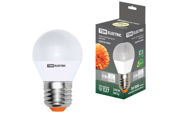 Лампа светодиодная FG45-5 Вт-220 В-3000 К–E27 TDM SQ0340-0009