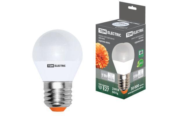 Лампа светодиодная FG45-5 Вт-220 В-4000 К–E27 TDM SQ0340-0043