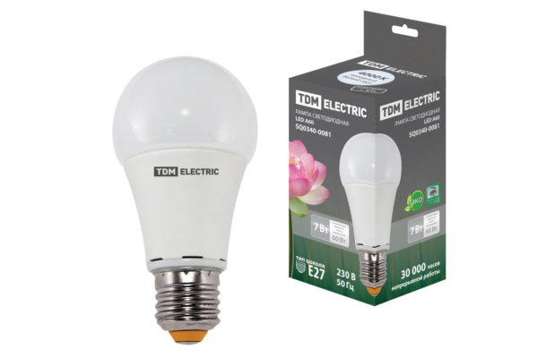Лампа светодиодная А60 - 7 Вт-220 В -4000 К–E27 TDM SQ0340-0081