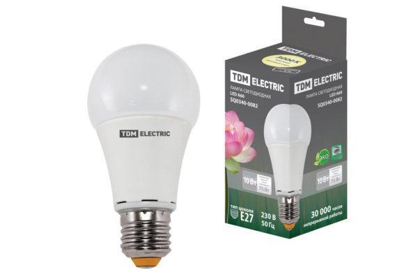 Лампа светодиодная А60 - 10 Вт-220 В -3000 К–E27 TDM SQ0340-0082