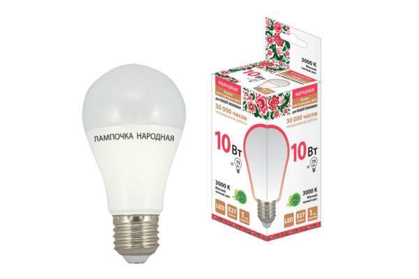 Лампа светодиодная НЛ-LED-A55-10 Вт-230 В-6500 К-Е27, (55х98 мм), Народная SQ0340-1510