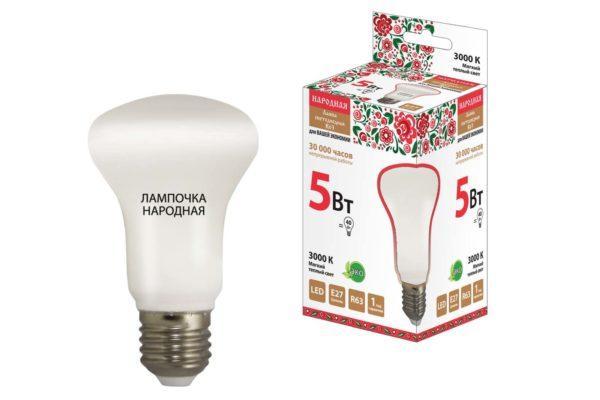 Лампа светодиодная R63 - 5 Вт-230 В -3000 К–E27 Народная SQ0340-0138