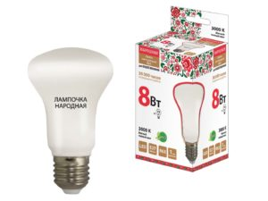 Лампа светодиодная R63 - 8 Вт-230 В -3000 К–E27 Народная SQ0340-0140
