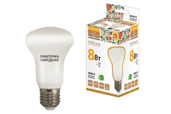 Лампа светодиодная R63 - 8 Вт-230 В -4000 К–E27 Народная SQ0340-0141