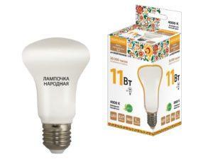 Лампа светодиодная R63 - 11 Вт-230 В -4000 К–E27 Народная SQ0340-0143