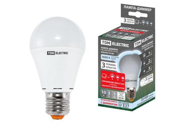 """Лампа светодиодная А60 - 10 Вт-230 В -4000 К–E27 """"Лампа-ДИММЕР"""" TDM SQ0340-0196"""