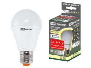 """Лампа светодиодная А60 - 10 Вт-230 В -3000 К–E27 """"Лампа-ДИММЕР"""" TDM SQ0340-0197"""