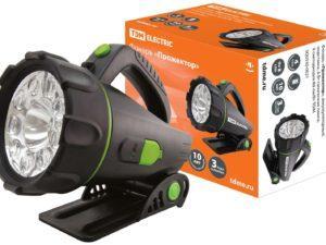 """Фонарь """"Прожектор"""", аккумуляторный, подставка, 6 Вт галогенная лампа, 9 светодиодов 80 лм/Вт TDM SQ0350-0021"""