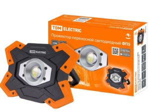 Прожектор переносной светодиодный ФП5, 15 Вт, 1250 лм, Li-Ion 3,7 B 6,6 A*ч, USB, TDM SQ0350-0055