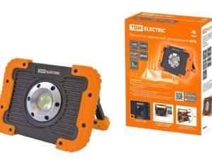 Прожектор переносной светодиодный ФП8, 10 Вт, 900 лм, Li-Ion 3,7 B 3 A*ч, USB, TDM SQ0350-0057