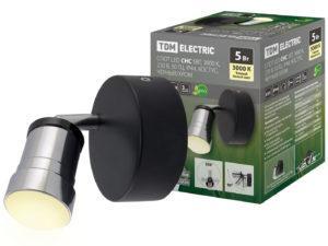 Спот LED СНС 5Вт, 3000 K, 230 В, 50 Гц, IP44, Костус, черный/хром TDM SQ0358-0228