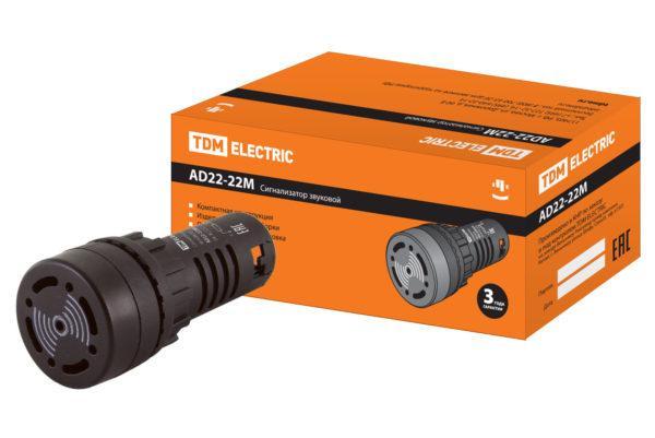 Сигнализатор звуковой AD22-22M/k31 d22 мм 220В AC черный TDM SQ0746-0002