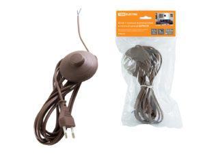 """Шнур с ножным выключателем и плоской вилкой ШУН01В ШВВП 2х0,75мм2 3,5м. коричневый """"ЭКО"""" TDM SQ1305-0066"""