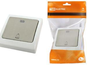 """Кнопка звонковая с подсветкой скрытой установки IP54 6A """"Вуокса"""" TDM SQ1803-0107"""
