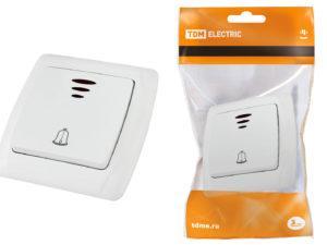 "Кнопка звонковая с подсветкой 6А белая ""Онега"" TDM SQ1805-0008"