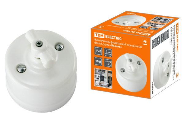 Выключатель фарфоровый поворотный с ручкой (бантик) 10А белый «Болонь» TDM SQ1820-0001