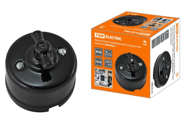 Выключатель фарфоровый поворотный с ручкой (бантик) 10А черный «Болонь» TDM SQ1820-0002