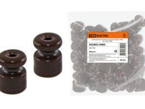 Керамический изолятор для ретро провода «ЭКО» бук (25шт) TDM SQ2802-0006