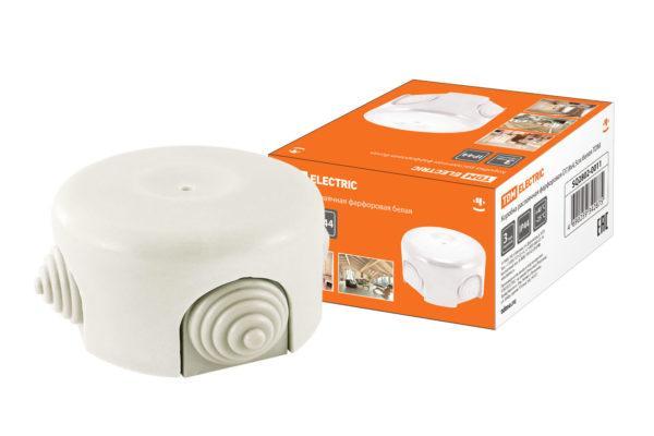 Коробка распаячная фарфоровая D7,8х4,5см белая TDM SQ2802-0011