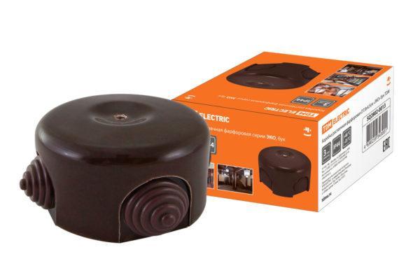 Коробка распаячная фарфоровая D7,8х4,5см «ЭКО» бук TDM SQ2802-0013