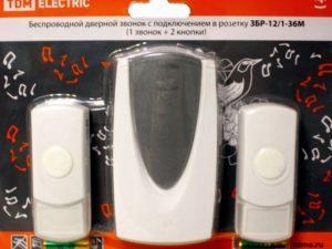 Звонок ЗБР-12/1-36М (беспр., роз., 2 кнопки) TDM SQ1901-0011